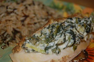 Spinach, Cream Cheese and Scallion Stuffed Chicken Breasts