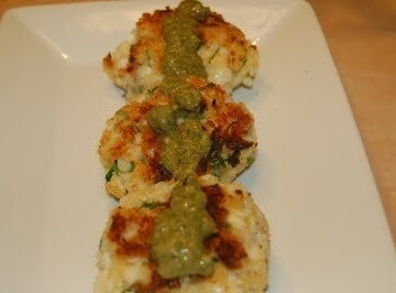 Fish Cakes with Garlic Parsley Caper Sauce