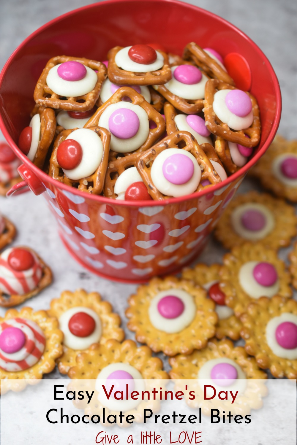 Easy Valentine's Day Chocolate Pretzel Bites in a small heart decorated tin