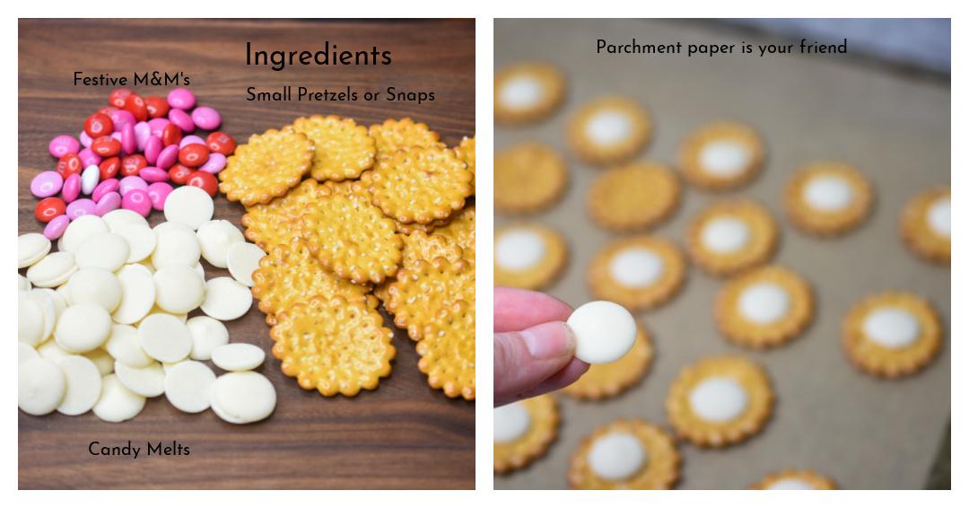 Ingredients to make chocolate pretzel bites