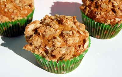 Pumpkin Muffins with an Oat Crumb Topping
