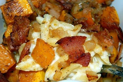 Roasted Butternut Squash and Bacon Pasta