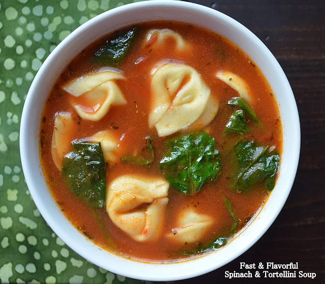 Garlicky Tortellini Soup with Tomato and Spinach
