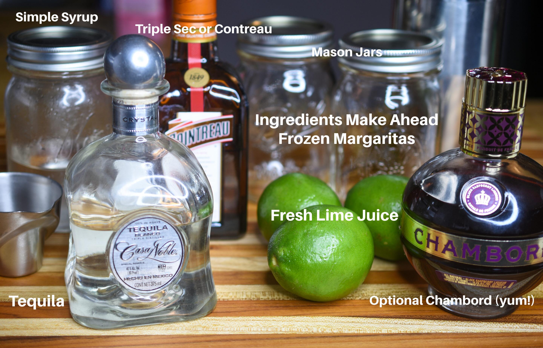Ingredients to make Frozen Margaritas