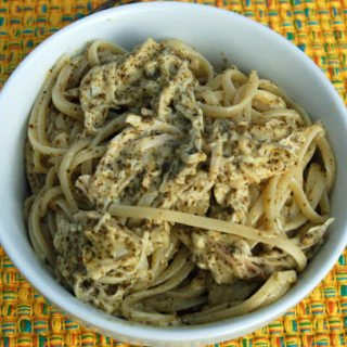 Creamy Pesto Pasta with Roasted Chicken