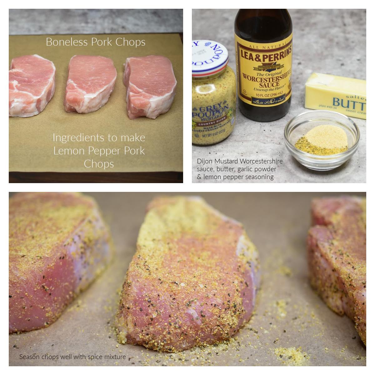 Ingredients to make Lemon Pepper Pork Chops