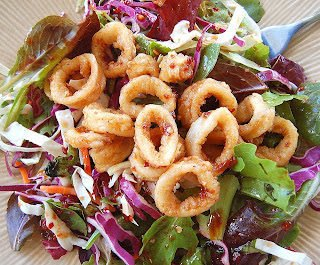 Asian Salad with Fried Calamari
