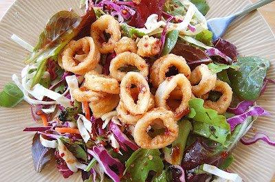 Asian Salad with Fried Calamari