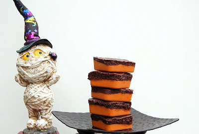 Halloweenie Chocolate and Peanut Butter Squares