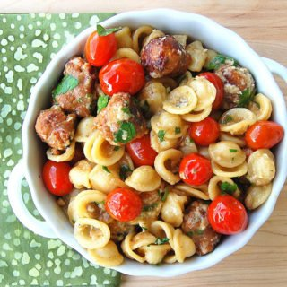 Orecchiette with Roasted Tomatoes and Sausage