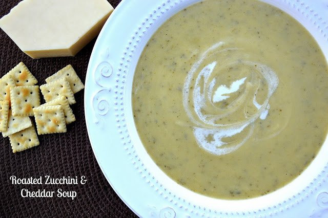 Roasted Zucchini Soup with Cheddar