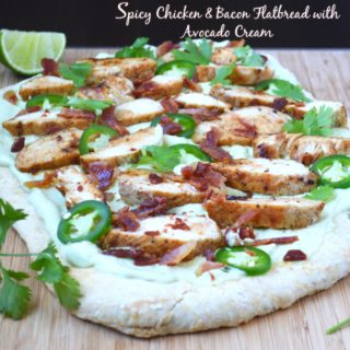 Spicy Chicken & Bacon Flatbread with Avocado Cream