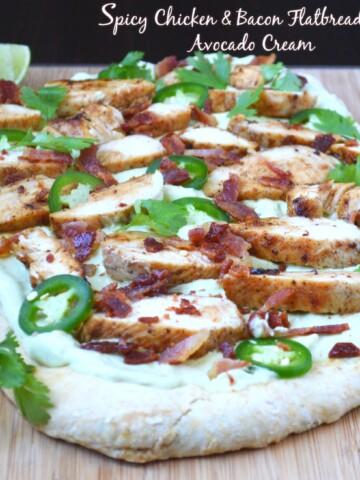 Spicy Chicken & Bacon Flatbread with Avocado Cream