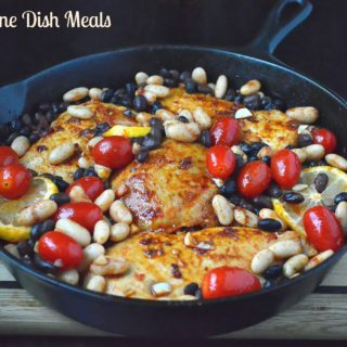 One Dish Meal Roasted Chicken with Beans & Tomatoes