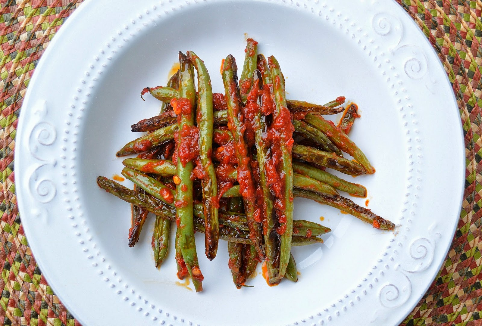 Charred Green Beans Tossed with Harissa - Souffle Bombay