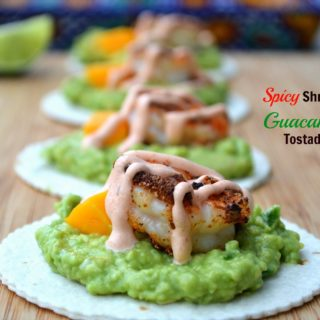 Guacamole & Spicy Shrimp Tostadas