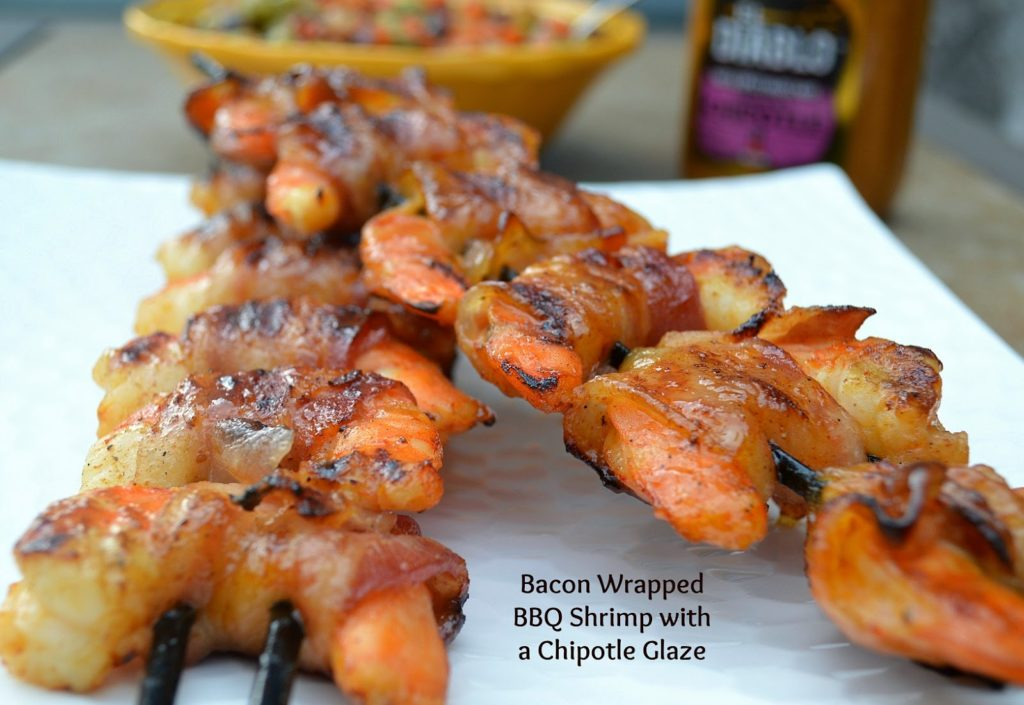 Bacon Wrapped BBQ Shrimp with a Chipotle Mustard Glaze