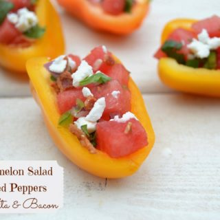 Watermelon Salad Stuffed Peppers with Feta & Bacon