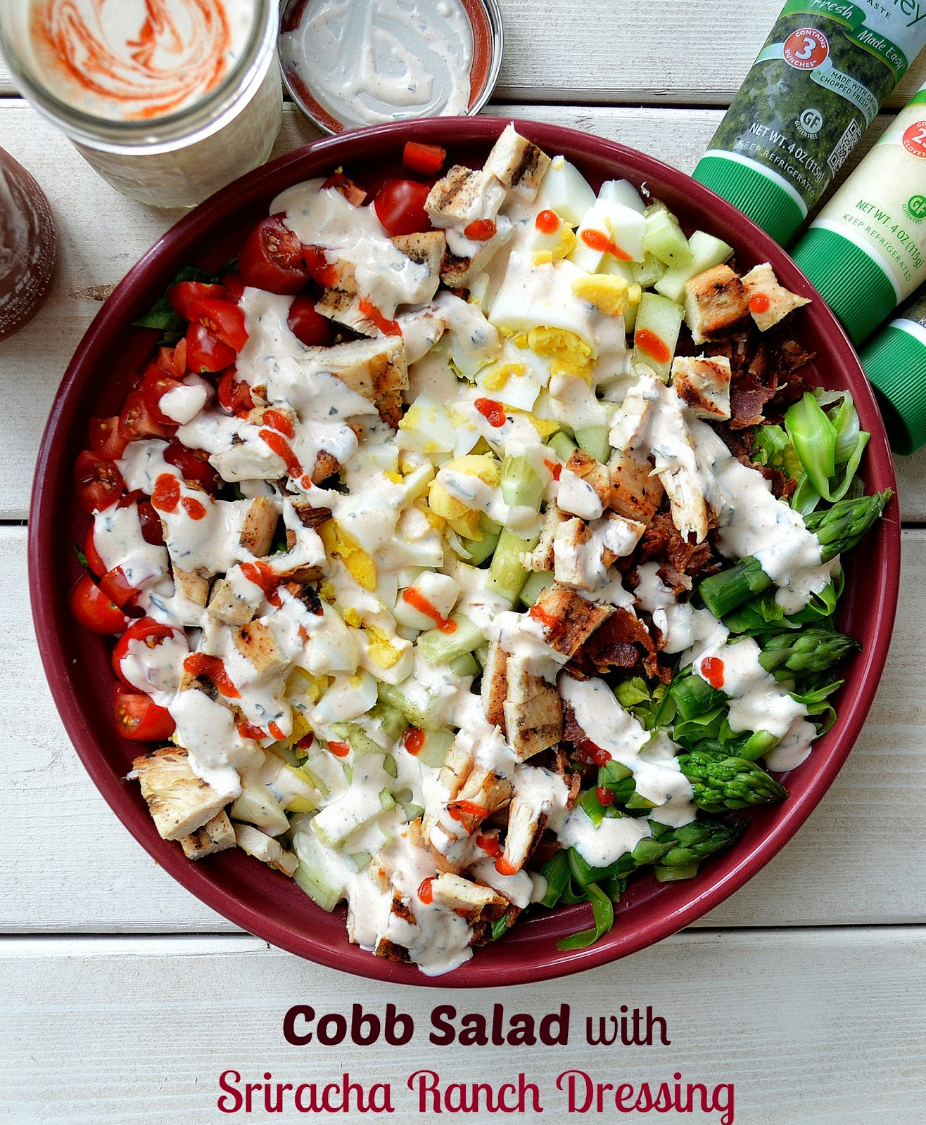 Cobb salad with homemade sriracha ranch dressing souffle - Where can i buy olive garden salad dressing ...