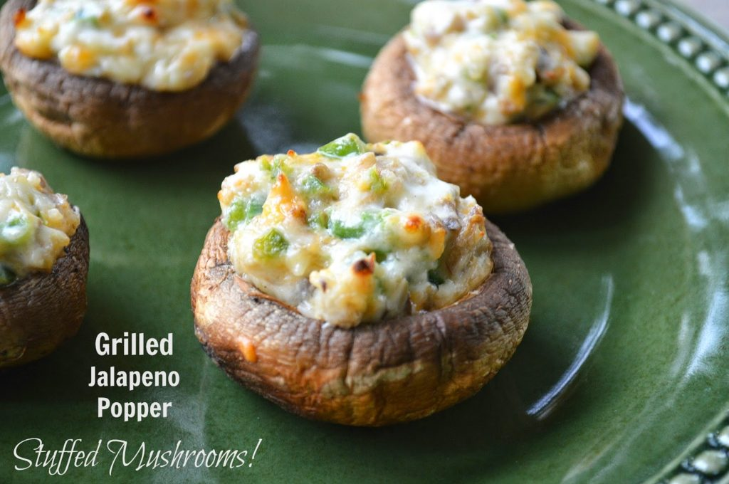 Grilled Jalapeno Popper Stuffed Mushrooms