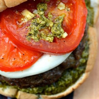 Sausage & Beef Burgers with Roasted Tomatoes Mozzarella and Pesto #BurgerMonth