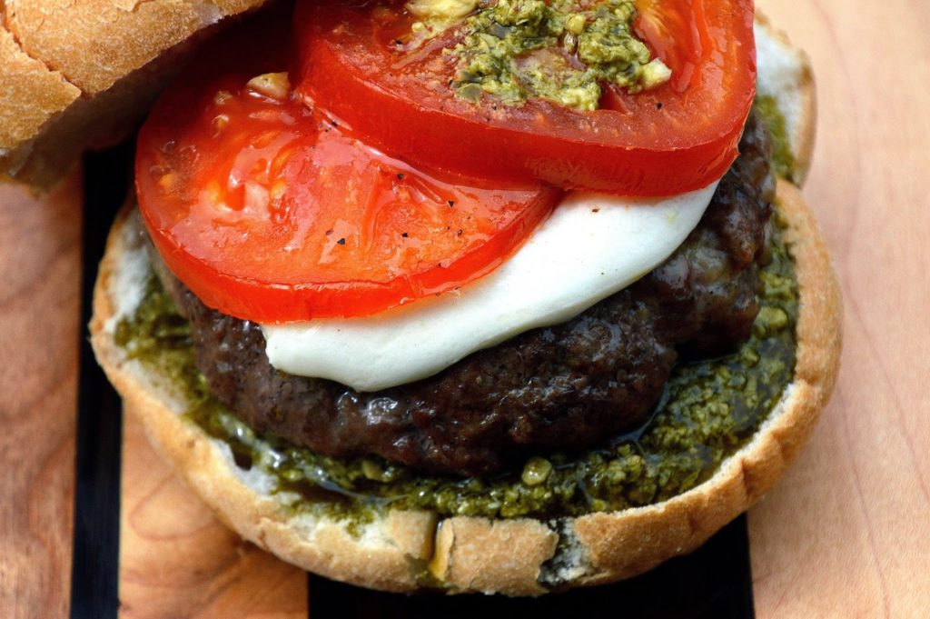 Sausage & Beef Burgers with Roasted Tomatoes Mozzarella ...