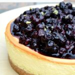 Blueberry Compote Topped Cheesecake on a plate
