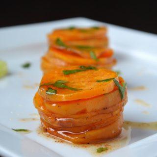 Sweet Potato Stacks with Spicy Lime Honey Vinagarette  #CutcoFallHarvest