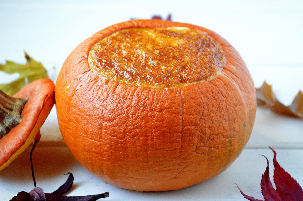 Pumpkin filled with baked custard they way the Pilgrims did it