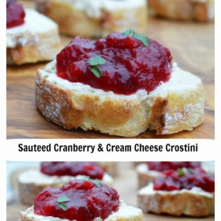 Sauteed Cranberries & Cream Cheese Crostini