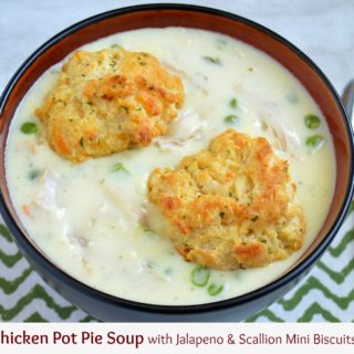 Chicken Pot Pie Soup with Mini Jalapeno & Scallion Biscuits