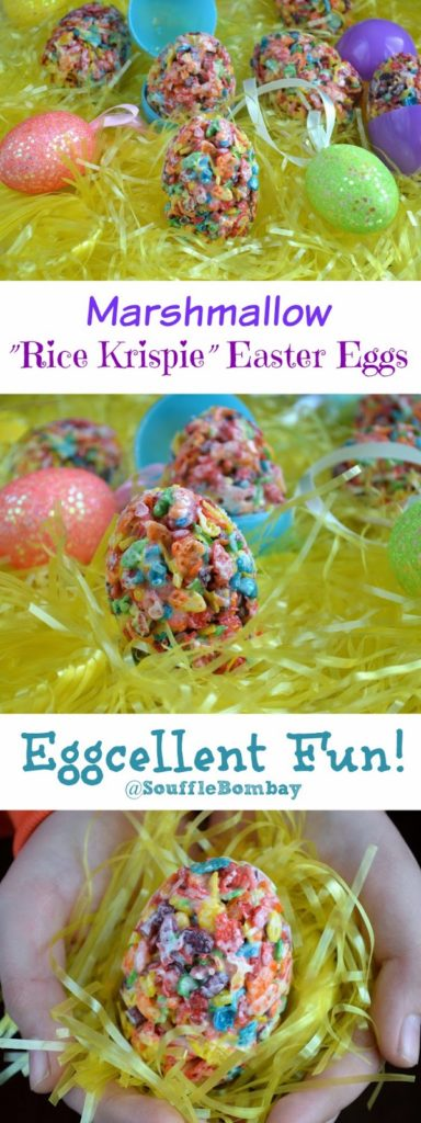 Easter Egg Shaped Marshmallow Krispie Treats