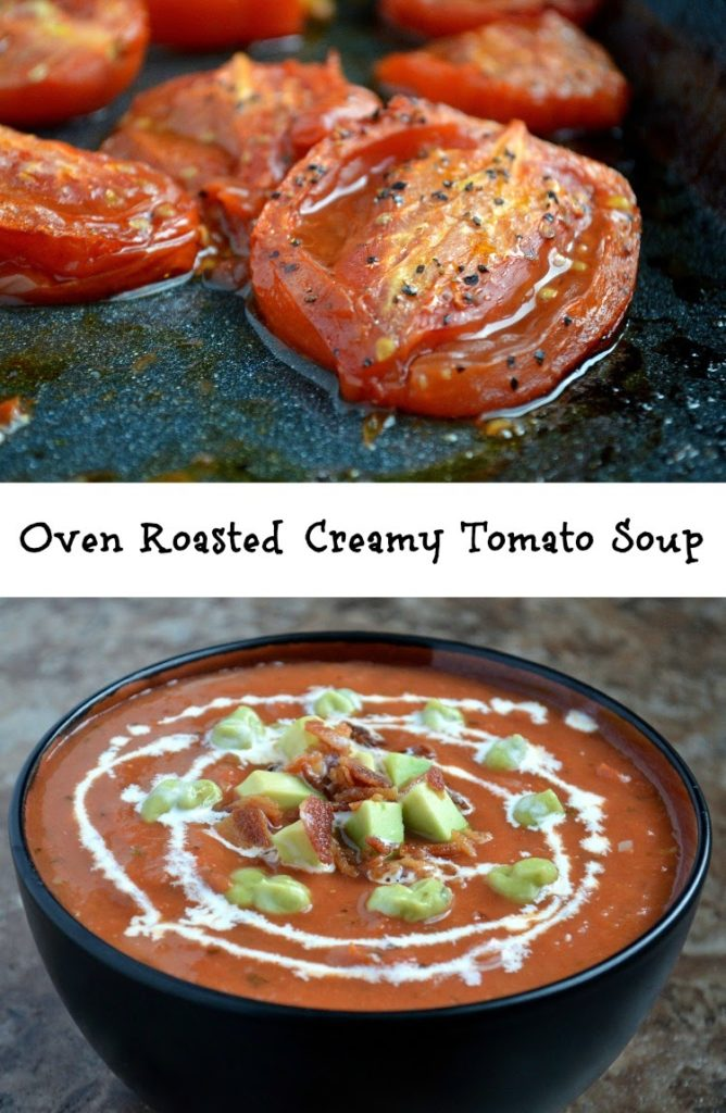Roasted Tomato Soup with Avocado and Bacon