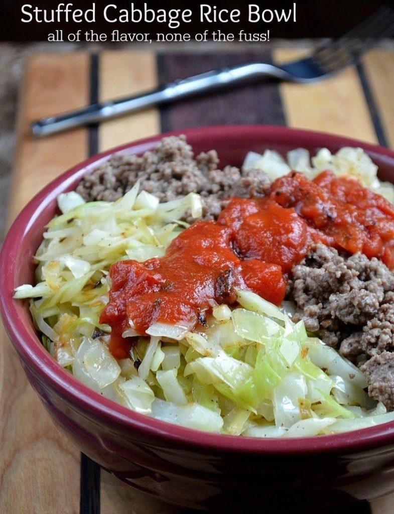Deconstructed Golumpki (Stuffed Cabbage) Rice Bowl
