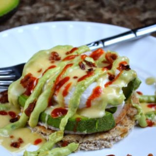 Eggs Benedict with Avocado, Sriracha Hollandaise & Avocado Cream