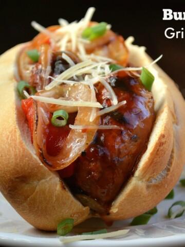 Grilled Bourbon Sausage & Onion Sandwich