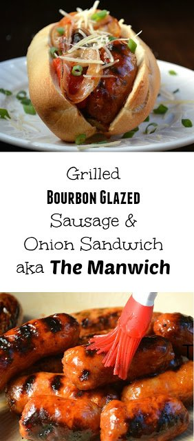 Grilled Bourbon Glazed Sausage & Onion Sandwich
