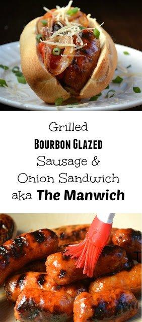 Grilled Bourbon Glazed Sausage & Onion Sandwich