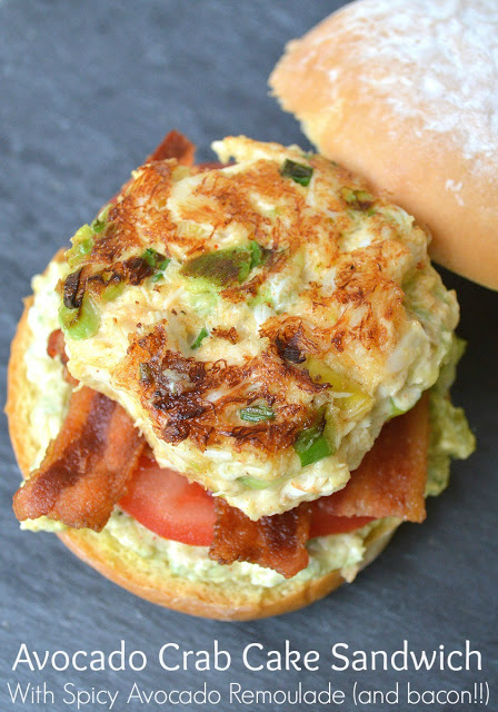 Avocado Crab Cake Sandwiches With Bacon & Spicy Avocado Remoulade