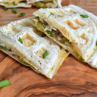 Easy Chicken & Cheese Quesadillas Cooked In A Waffle Iron
