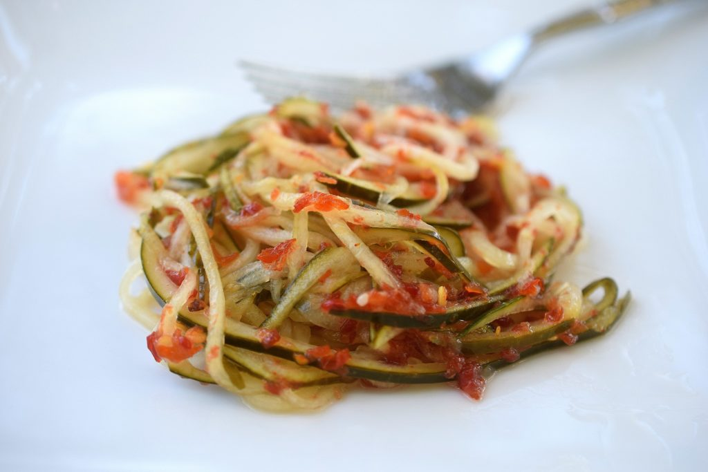 Spicy Pickled Spiralized Cucumbers