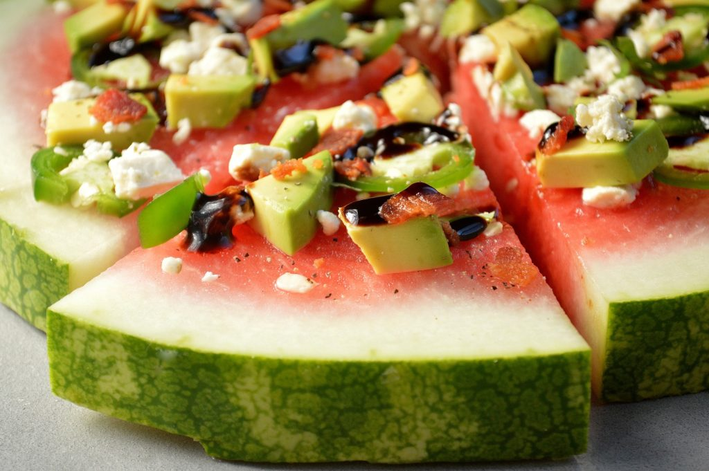 Watermelon Pizza With Avocados Jalapenos Bacon & Feta Drizzled with Honey-Lime Vinaigrette & Balsamic Glaze @SouffleBombay