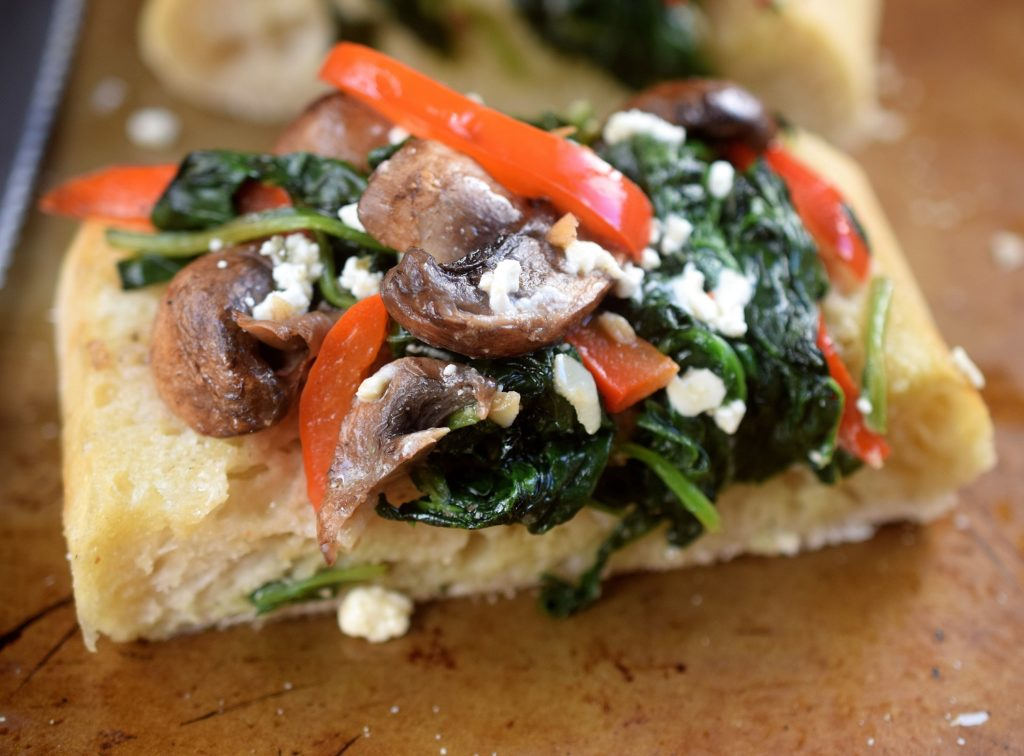 Ciabatta Bread WIth sauteed Spinach Mushrooms Peppers and Feta