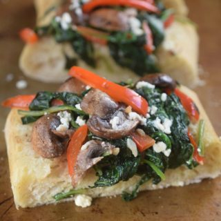 Ciabatta Bread Loaded With Sauteed Vegetables & Feta Cheese .