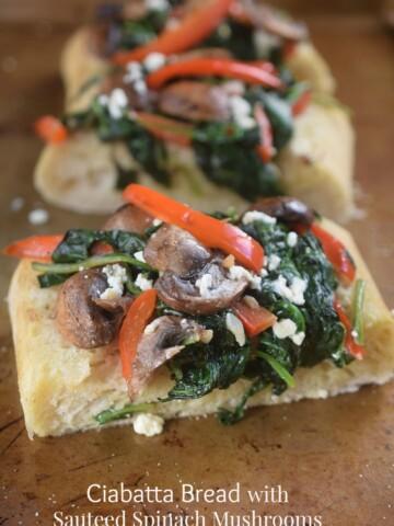 Ciabatta Bread Loaded With Sauteed Vegetables & Feta Cheese .