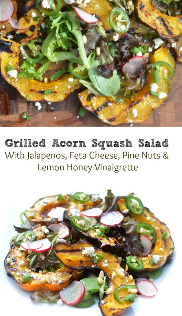 Grille Acorn Squash Salad With Jalapenos, Fets Cheese and Pine Nuts and a Honey Lemon Vinaigrette