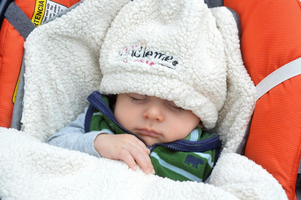 Baby in JJ Cole Bundleme and Bundleme Hat