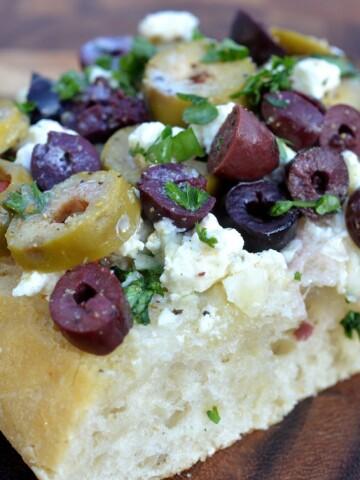 Greek Garlic Bread - Garlic Bread with Olives & Feta Cheese