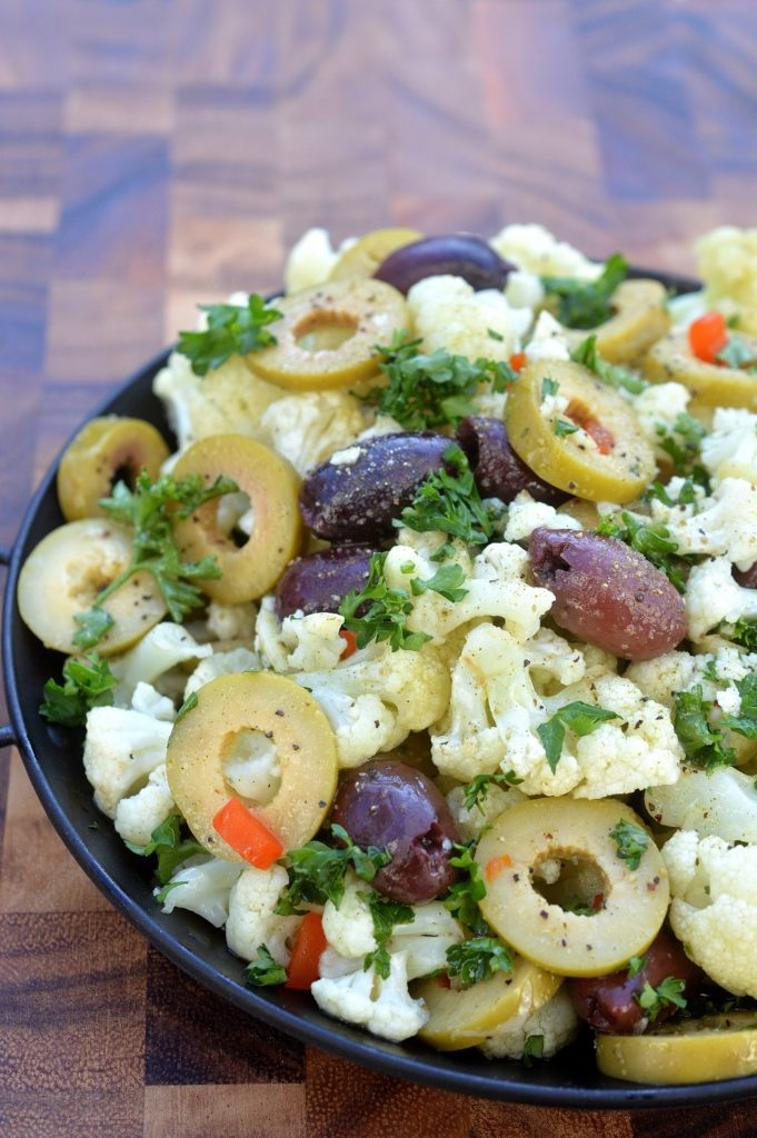 Roasted Cauliflower & Olives with Greek Seasoning made in the microwave in 4 minutes!