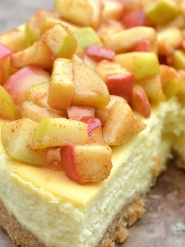 Cheesecake Topped With Sauteed Cinnamon & Sugar Apples